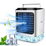 Portable Air Conditioner, Evaporative Air Conditioner Fan with Humidifier Air Purifier, Personal Air Cooler Misting Fan with 7 Colors Lights, Quiet Table Fan with 3 Speeds for Home, Room and Office