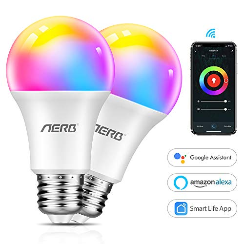 Aerb WiFi E27 Lampe, 9W Dimmbar Smart WLAN LED Birne 1000LM, Intelligente Mehrfarbige Glühbirne 2700-6500K, kompatibel mit Alexa(Echo, Echo Dot) und Google Home, Kein Gateway erforderlich, RGBW