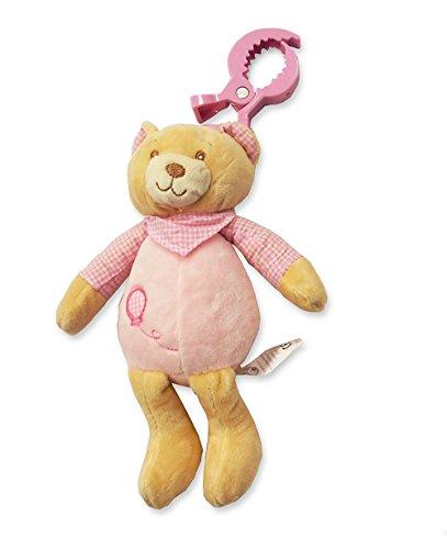 Bébé Fille Rose doux Ours en peluche à clipser Poussette, tour de lit et de siège de voiture jouet – Convient à partir de la naissance