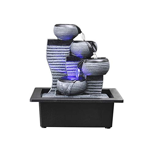 Fuente de escritorio de 4 niveles Decoración de interiores: kit de cascada decorativa portátil de mesa con bomba y relajación relajante con LED, ambiente de meditación Zen ( color : C-24*18*26cm )