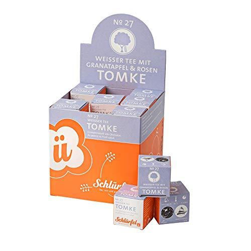 Schlürf Weißer Tee Tomke No. 27, Schlürfel Bio-Weißer Tee mit Granatapfel und Rosen, Display mit 27 Pyramiden-Teebeuteln, 67,5g (27 x 2,5g)