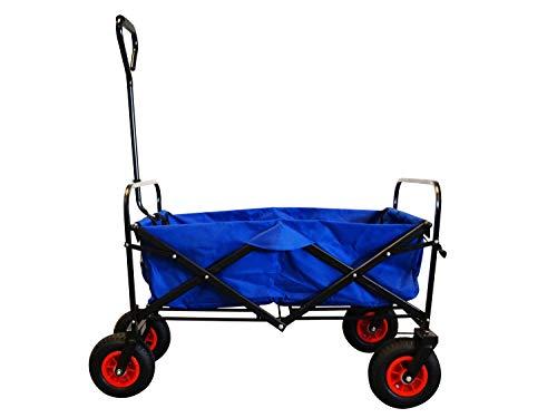 MAXOfit Faltbarer Bollerwagen mit Luftreifen, Schutzhülle und Bremse | 360° Räder | Handwagen Platzsparend klappbar, bis 70kg, Blau
