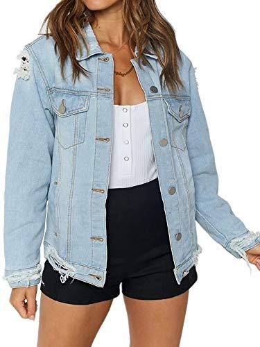 just quella Jean Jacket Women Oversized Distressed Denim Jacket (M, Blue Washed)