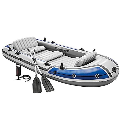 ReedG Kayac Espesar 5 Personas Barco Inflable Barco de Pesca al Aire Libre Kayak escénico Barco de Aire Bote Inflable (Color : Gray, Tamaño : 366x168x43cm)