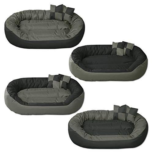 BedDog® Hundebett Sunny 4in1, großes Hundekörbchen aus Cordura, waschbares Hundebett mit Rand, Hundekissen oval-rund, für drinnen und draußen, XXXL, Rock-Flow, grau-anthrazit