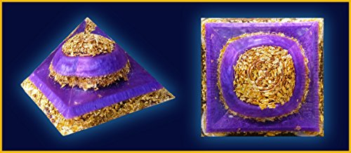 4.5 inch Violet and 24k Gold Flake Giza Orgone Pyramid