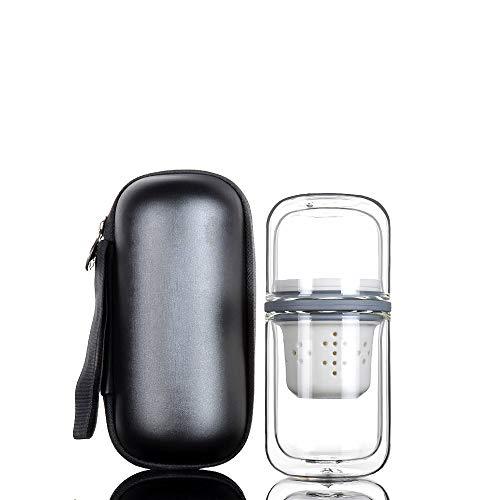 LMCLJJ Té portátil con Estuche, Espesado Resistente al Calor de Doble Capa Tetera de Cristal con Infusor, Oficina Juego de té, Juego de té de Viajes for al Aire Libre (Color : Black)
