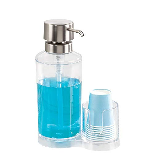 Price comparison product image iDesign Clarity Mouthwash Caddy,  Clear / Brushed Stainless Steel