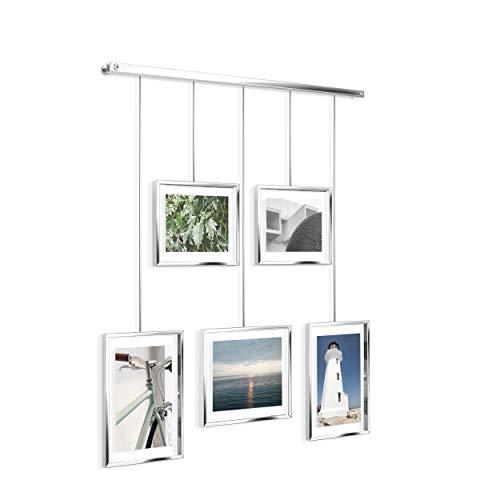 Umbra Exhibit Foto Collage Flexibles Bilderrahmen-Set zur Horizontalen und Schrägen Anbringung, für 5 Photos, Kunstdrucke, Bilder, 10 x 15, 13 x 18 und 20 x 25 cm, Chrom, One-Size