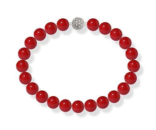 Schmuckwilli Südsee Tahiti Damen Muschelkernperlen Perlenkette Rot Magnetverschluß echte Muschel 50cm dmk5005-50 (18mm)