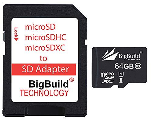 BigBuild Technology 64GB Ultra Schnelle 80MB/s Speicherkarte für Blackvue DR650S 2CH dashCam, Klasse 10 MicroSDXC
