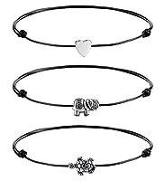 Milacolato 3Pcs Fußkettchen für Damen Leder Herz Elefanten Schildkröten Ketten Strand Einstellbare Schwarze Fußkettchen Fußschmuck Sets für Frauen