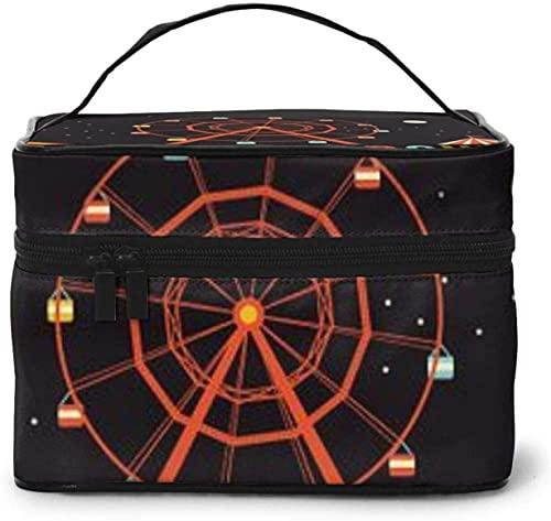 Große Make-up-Tasche mit Ferris Sky Wheel Tod Cab Design für Damen, tragbarer Kosmetikkoffer, Organizer für Reisen mit Reißverschluss, Netz-Bürstentasche mit Griff, Mädchen