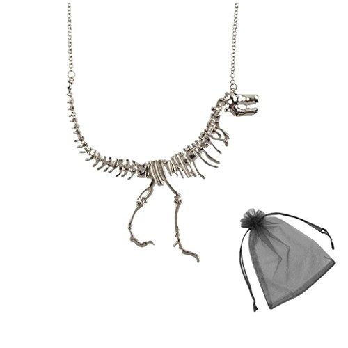 SwirlColor Dinosaurier Halskette Vintage Style Dinosaurier-Skelett-Anhänger-Halskette (Halskette)