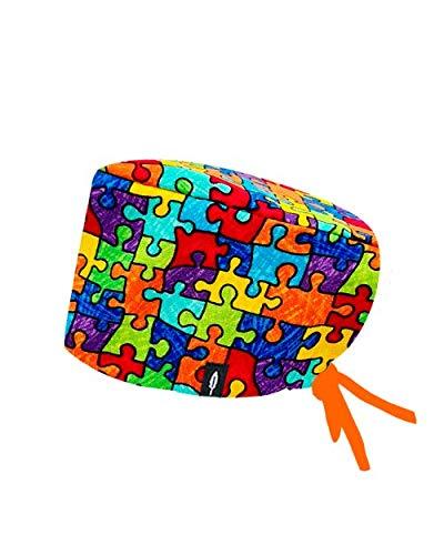Robin Hat - Cuffie da sala Operatoria PUZZLE - CAPELLI LUNGHI - 100% cotone (Autoclave) - Massima comodità