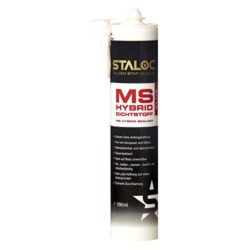 STALOC Premium Kleb- und Dichtstoff MS Hybrid plus | weiß | universell für unzählige Verklebungen mit extrem hoher Anfangshaftung | 290 ml
