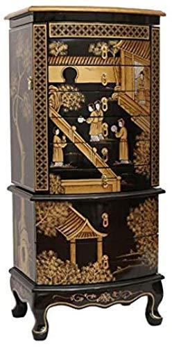 LILAODA Schmuckschrank Holzkiste mit 8 Schubladen Handbemalter Schmuckschrank mit Spiegel luxuriöse orientalische Kunst...