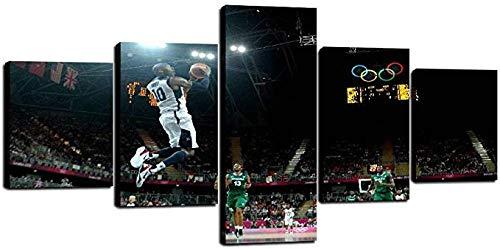 HSBZLH Wall Art Painting Artwork Ko-Be Br-Ya-Nt Poster Modular Canvas Decoration Painting Hd Prints Basketball Boys Room 5 Piece Canvas Art Pictures Wall Decor Nascar Wall Decor