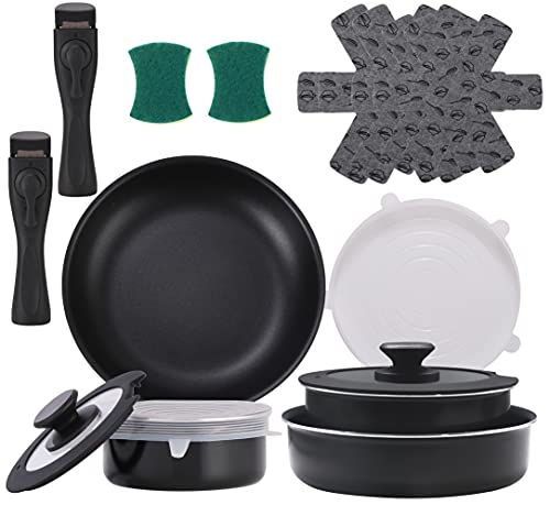 Xeeyaya 16 Pieces Kitchen Removable Handle Cookware Sets, Stackable Pots and Pans Set Nonstick for Induction Gas RVs Camping Space Saving