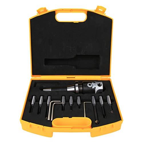 LANTRO JS - Juego de cabezales de mandrinar de 9 piezas, herramienta de cabezal de mandrinar de acero al carbono, juego de cortadores de mandrinar 40Cr Kits de herramientas de torno de fresado CNC de
