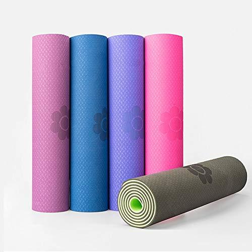 N / A Hochwertige TPE Yoga Matte 6mm geschmacklos Pilates Gym Übung Sport Teppich Matten für Anfänger Umwelt Fitness Hot 183x61x0.6CM