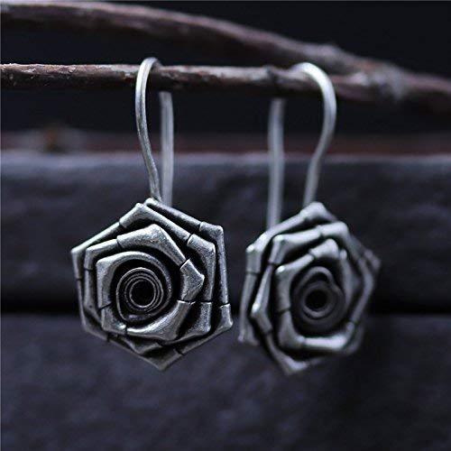 Hand Crafted Vintage S925 Silver 18 * 15mm Rose Hook Earrings With Gift Box Packing,Sterling Silver Texture Flower Drop Earrings,Gift For Her