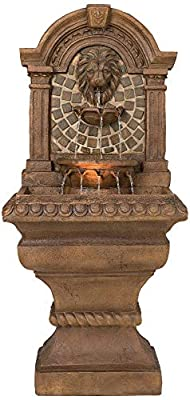 """John Timberland Royal Lions Head Mediterranean Outdoor Wall Water Fountain with Light LED 51"""" High 3 Tiered for Yard Garden Patio Deck Home"""