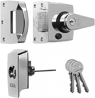 POLISHED BRASS ERA NIGHTLATCH FRONT DOOR LOCK 60mm Backset Rim Cylinder 3 Keys