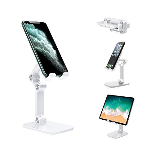JEALNBONL Cell Phone Stand, Phone Stand for Desk, Phone Dock,Cradle, Holder, Stand for Office Desk, Compatible with iPhone 12/11/11 Pro/Xs/Xs Max/10/9/8/7/6/6s Plus, All Smartphones & iPad Mini, White