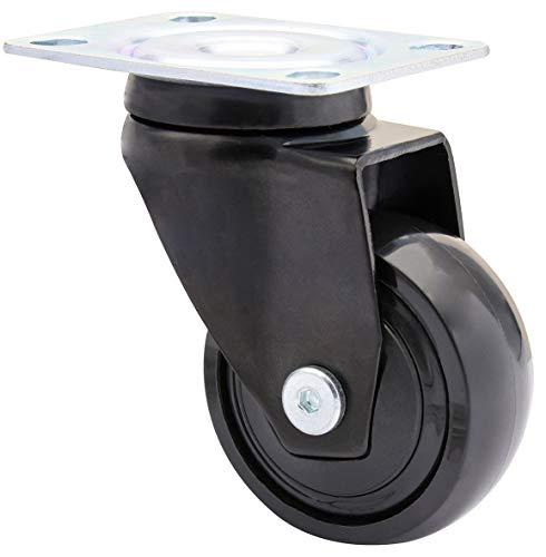 WAGNER Design - 3C - Lenkrolle/Apparaterolle/Möbelrolle - schwarz, Softlauffläche, Durchmesser Ø 50 mm, Kugellager, Tragkraft 50 kg - 01225201