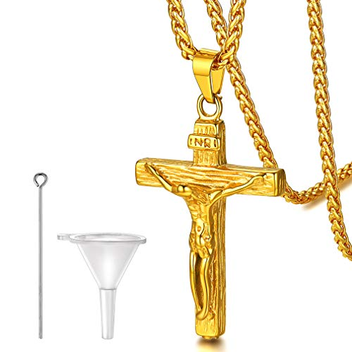 FaithHeart Crucifix Cross Necklace Cremation Ashes Urn Pendant Cross Necklace for Christian Catholic Jesus Piece Jewelry Charms with Polished Chain for Male Gold