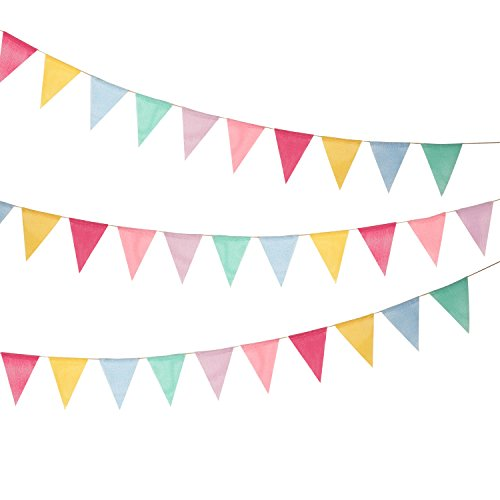 Shappy 18 Flaggen Nachgeahmt Sackleinen Wimpel Banner, Mehrfarbig Stoff Dreieck Flagge Bunting für...