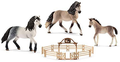 4in1-SET Schleich Pferde Horse Club - Andalusier Familie und Pferdekoppel 13793 + 13821 + 13822 + 42434