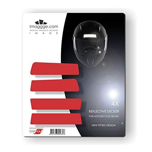 Kit de 4 tiras adhesivas reflectantes para casco de moto, nuevas formas estiladas, calidad alemana, color rojo