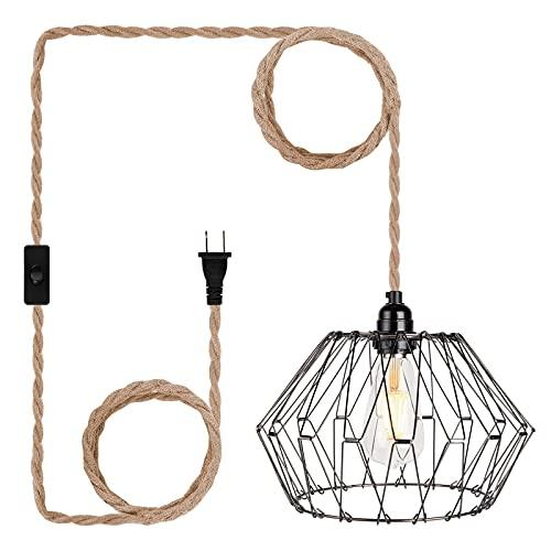 Lámpara de techo con interruptor, cable de lámpara vintage con cuerda de cáñamo trenzada, casquillo E27, lámpara colgante para casa de granja, sin bombilla (portalámparas con pantalla de lámpara)