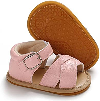 Infant Baby Boys Girls Summer Sandals PU Leather Rubber Sole Toddler First Walker Shoes