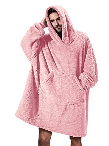 Gemijacka Poncho mit Kapuze Herren Langarm Teddy-Fleece Bademantel Damen Warm Winter Badetuch Oversized Einteiliger Schlafenanzug Unisex Rosa L