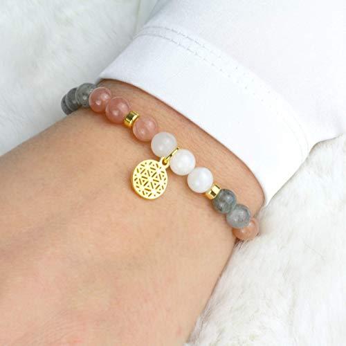 LEBENSBLUME Armband Frauen aus echtem MONDSTEIN, 925er Silber oder Silber vergoldet, perfektes Geschenk zum Geburtstag oder Muttertag