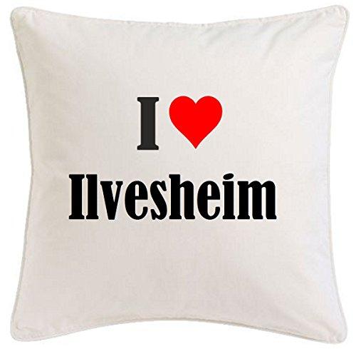 Kissenbezug I Love Ilvesheim 40cmx40cm aus Mikrofaser geschmackvolle Dekoration für jedes Wohnzimmer oder Schlafzimmer in Weiß mit Reißverschluss