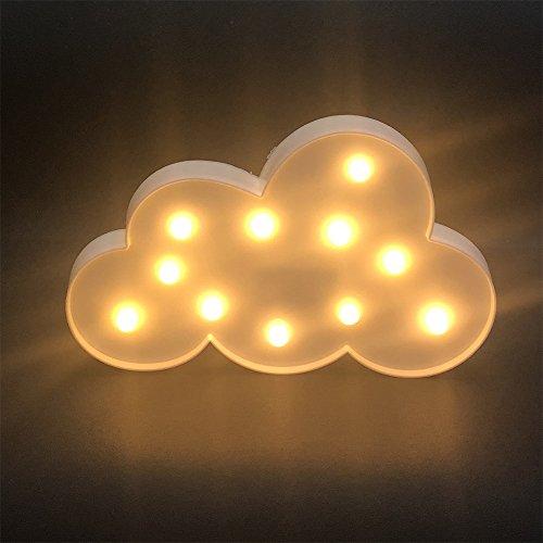 Luz de Noche LED, Lámpara de Mesa de Luz de Nocturna de la Batería para Navidad Nuevo Año Fiesta Decoración de la Habitación, Forma de Nube - Blanco Cálido