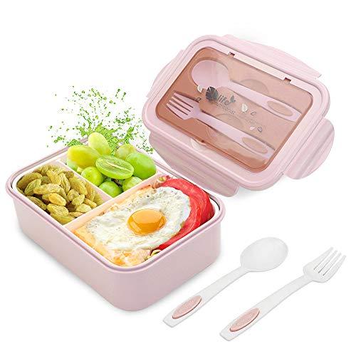 LAKIND O-Kinee Lunch Box, Porta Pranzo, 1400ml Kids Bento Box con 3 Scomparti e Posate(Forchetta e Cucchiaio), Lavastoviglie/Approvato dalla FDA/Senza BPA (Ros2)