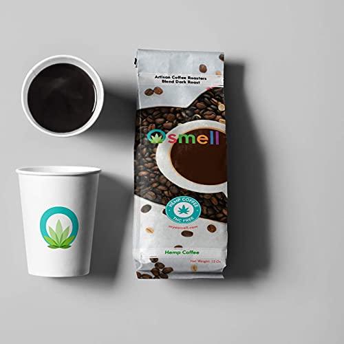 Hemp Coffee 100% Colombian Coffee Blend With Pure Hemp (100% Natural Hemp, THC Free). Ground Coffee, Artisan Coffee Roasters, DARK ROAST (HEMP Coffee, 12 Ounce)