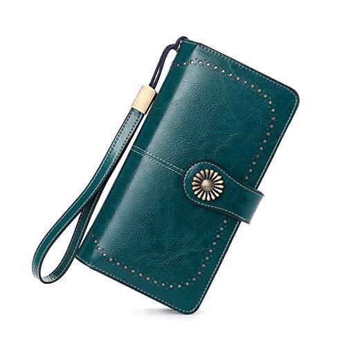Neusky Damen Leder große Geldbörse, Frauen Leder Geldbeutel Lang Portemonnaie Geldtasche mit 24 Kartenfächer und RFID-Schutz (Blau2019)