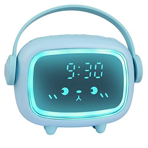 ZKIAH Wecker Kinder Digital Kinderwecker für Mädchen Jungen Digitaluhr Engel LED Wecker Mit Nachtlicht Uhr Wecker (Blau)