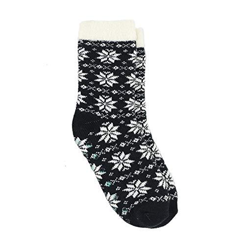 Witou Capa Caliente Skid Inicio Invierno Navidad Suave Zapatilla Calcetines de Mujer, de Nylon Forrado Interior Calcetines de Las Mujeres, Comodidad y Ocio (Color : Black 1, Size : 35 43)