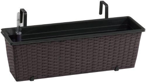 Jardinera para balcón de polyrattan Incluye suspensión y Sistema de riego, Mocca, 60 x 19 x 18 cm