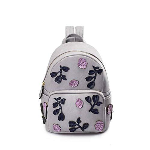 YT-ER Damen Tasche Mode Blume Rucksack Weiblich Han Chao College Wind Rucksack Reisetasche, Rauchpulver lila