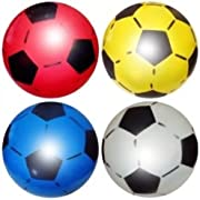 """PVC SPORTS SHOOT FOOTBALL 22.5CM or 8.5"""" (DEFLATED) PARTY BAG FILLER AND KIDS TOY. SUITABLE FOR INDOOR AND OUTDOOR FOR SCHOOL, BIRTHDAY PARTIES, SCHOOL FUN FAIR, CHARITY STALLS TO RAISE MONEY COMES IN ASSORTED COLOURS"""