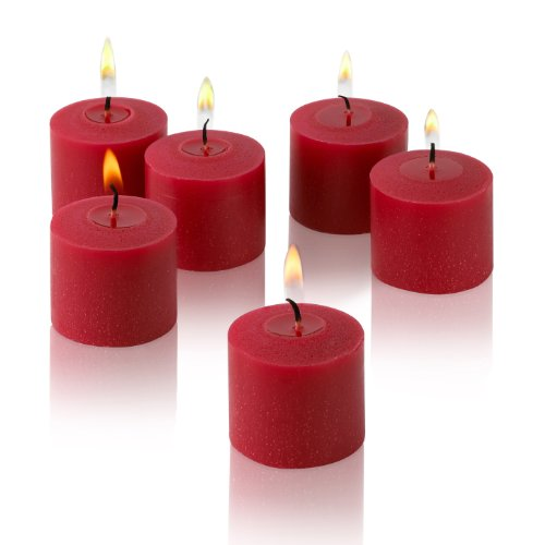 Light In The Dark Red Votive Candles - Box of 12 Unscented Candles - 10 Hour Burn Time - Candles for Weddings, Parties, Spas and Decorations
