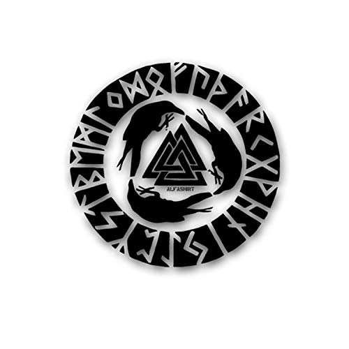 Odins Raben Wikinger Abzeichen Runen Wandtattoo 45x46cm #5851